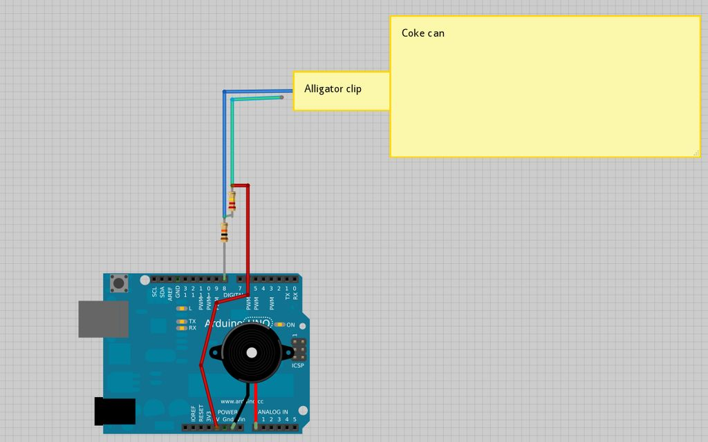 Arduino alarmed Coke can circuit
