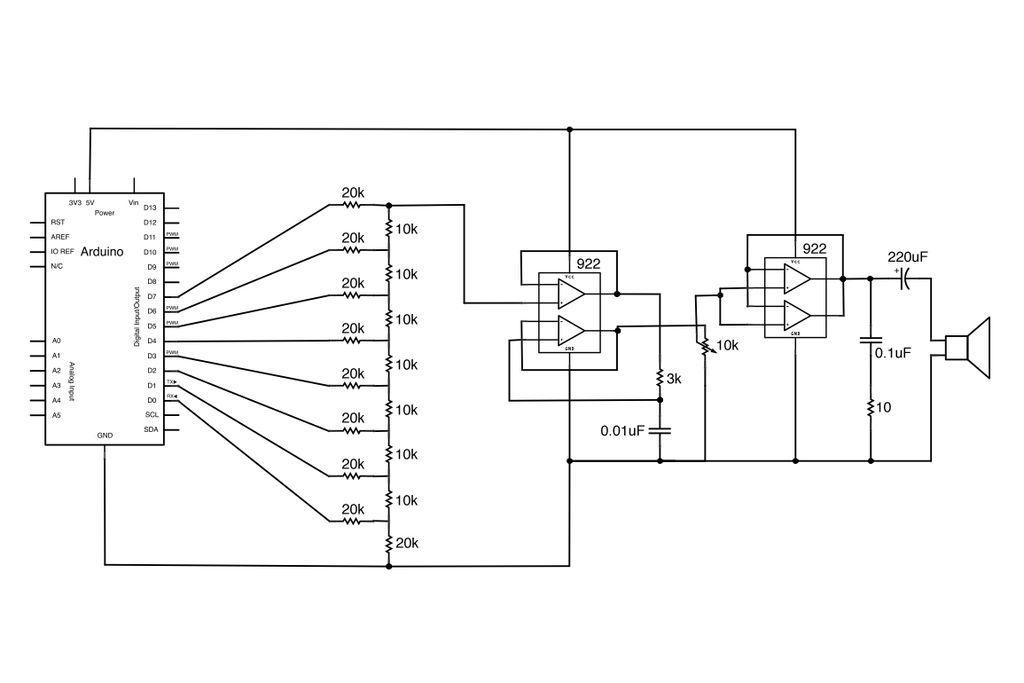 Circuit Arduino Audio Output