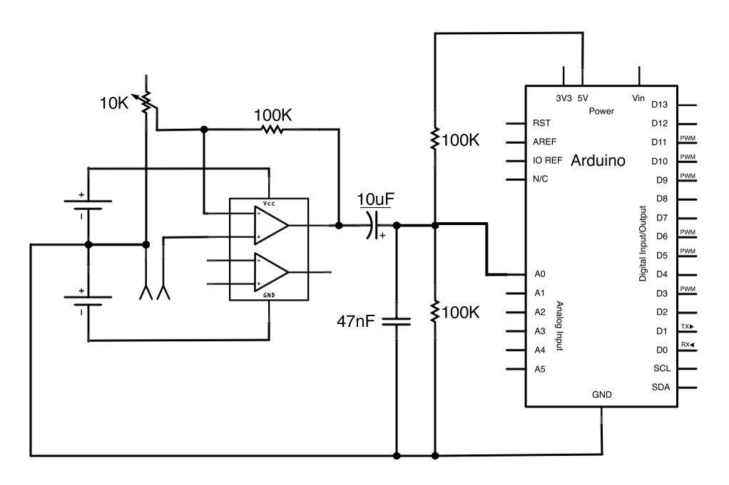 Circuit Non-Inverting AmplifierArduino