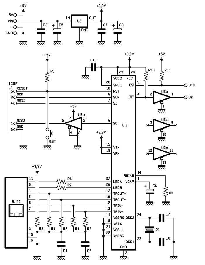 Schematic Arduino Ethernet shield