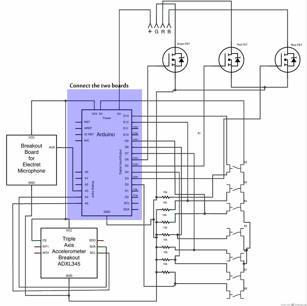Interactive Led Lab Coat Using Arduino Use For Projects Power The Electret Mic Through Uno As Shown In Circuit Diagram Schematic