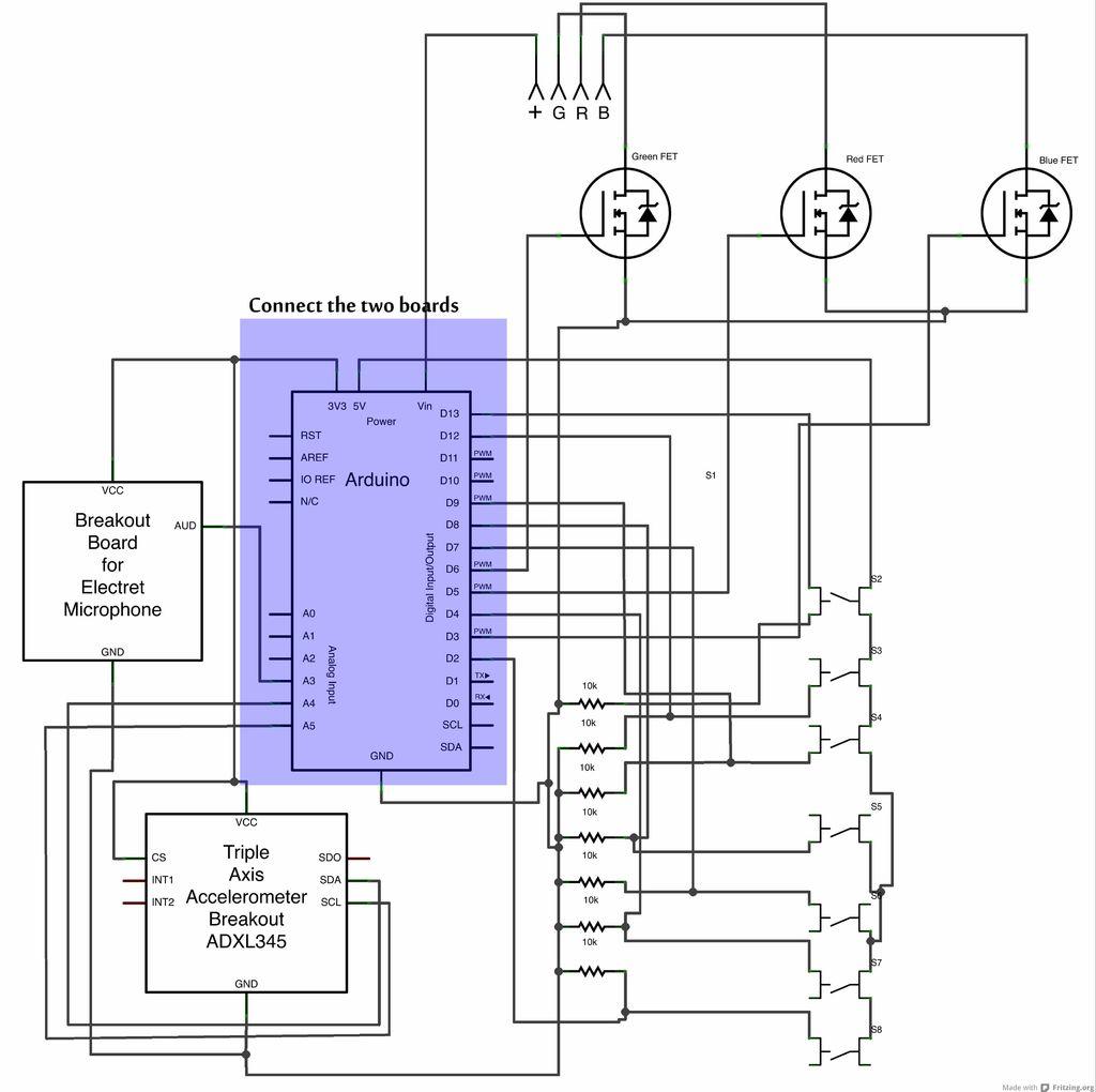 Schematic Arduino LED Lab Coat