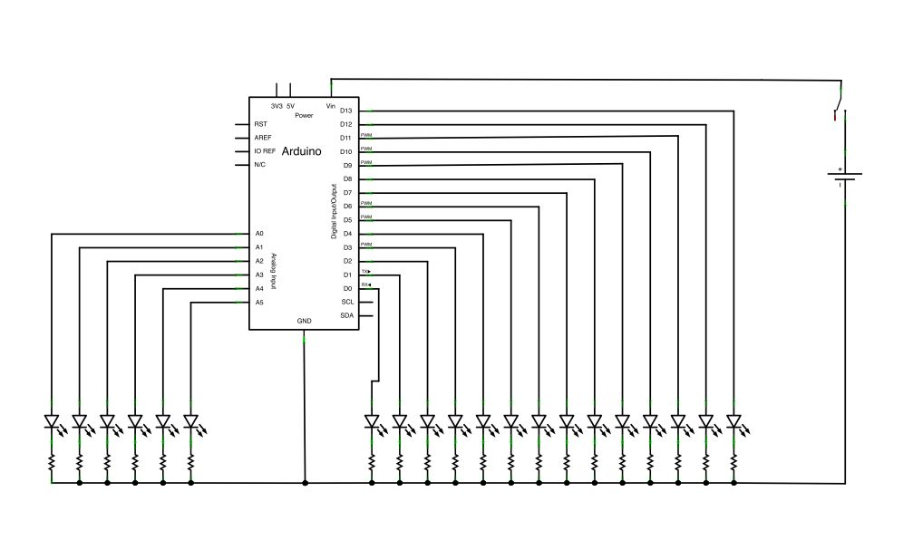 Schematic Arduino Persistence of Vision Wand