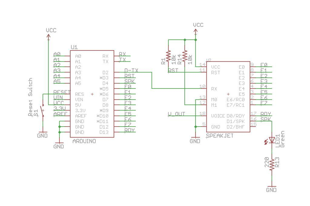 Schematic Arduino Twitter Enabled Text to Speech