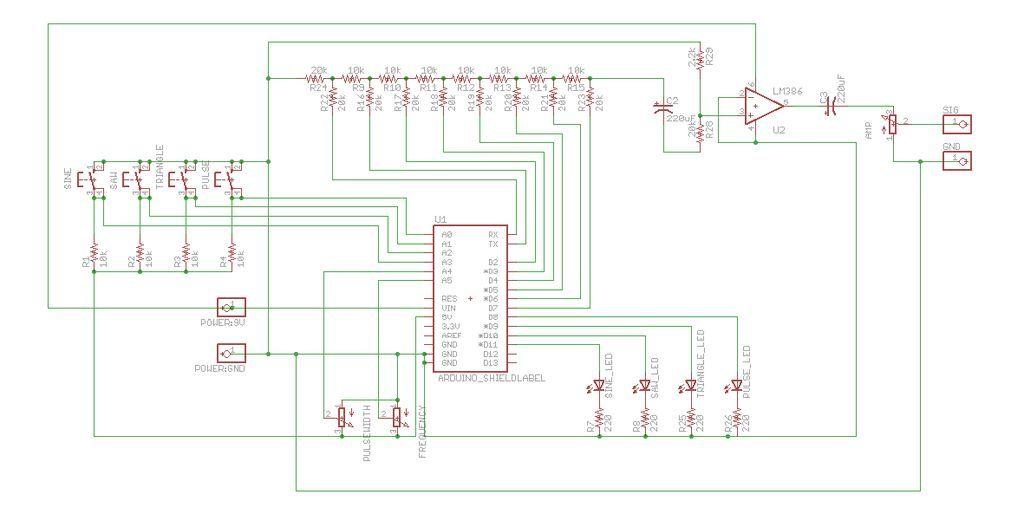Schematic Arduino Waveform Generator