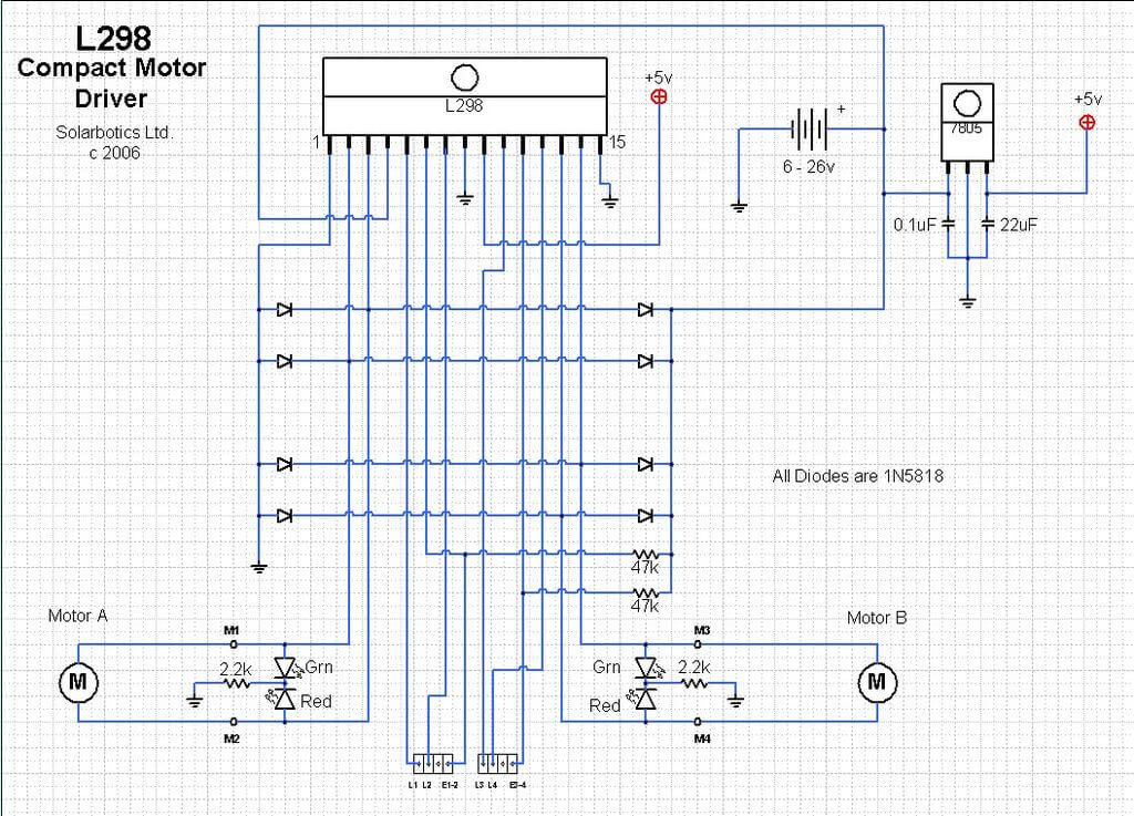 Schematic Integrated Sensor and L298N Motor Shield
