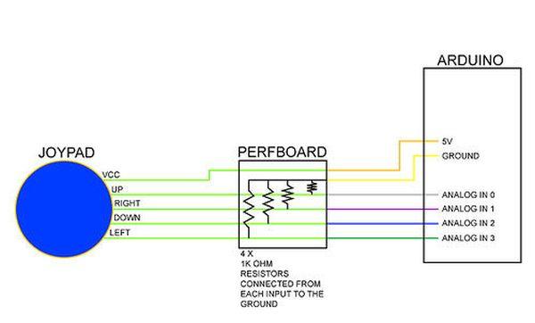 Arduino Analog Fabric Joypad circuit