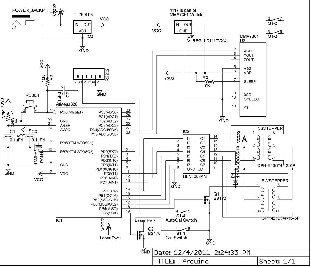 Auto Leveling Laser Cross Using Arduino Use For Projects Drawing An Circuit Diagram Schematicjpg Schematic
