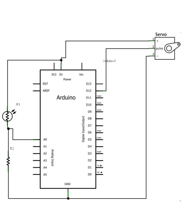 Arduino Control Servo with Light circuit