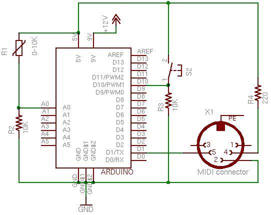 Arduino Controlling Cubase Schematic