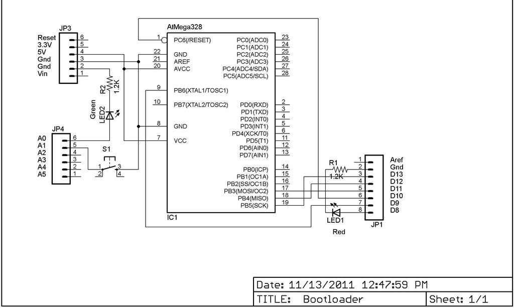 Arduino In Circuit Programmer Schematic