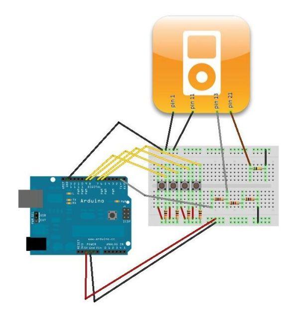 Arduino Ipod Controller circuit