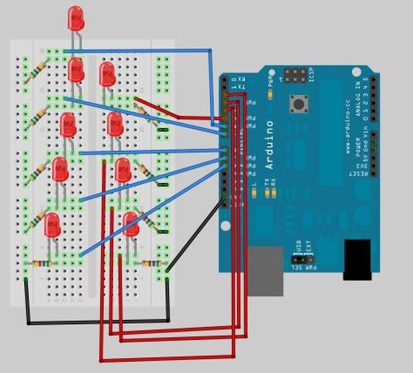 Arduino LED Super Mario Piranha Plant circuit