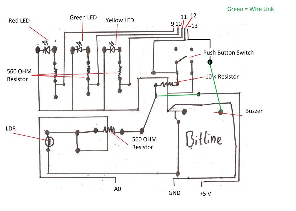 arduino laser security shield schematic