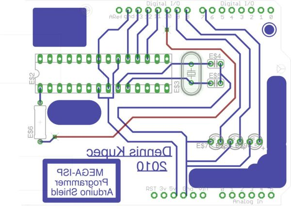 Arduino Mega-ISP Shield circuit