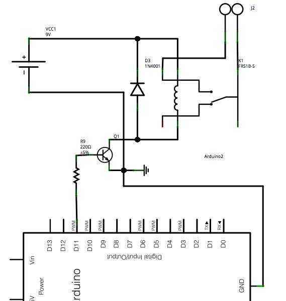 Arduino Motion Triggered Fog Machine Schematic