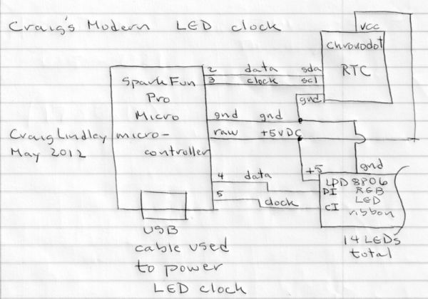 Arduino RGB LED Clock Schematic