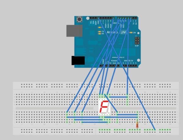 Arduino Seven Segment Display circuit