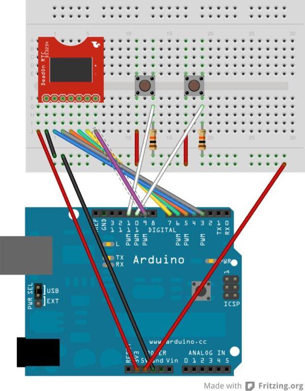 Arduino Watch with Nokia 3110 screen circuit