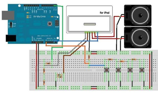 Arduino with iPod circuit