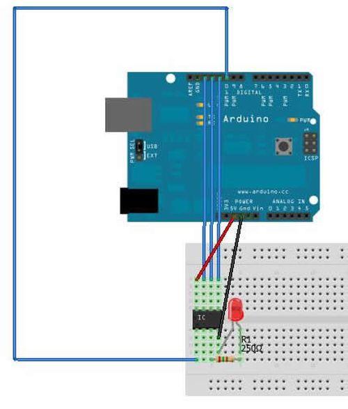 Programming an ATTiny13A using Arduino circuit