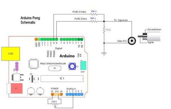 Schematic Arduino 2 player Pong