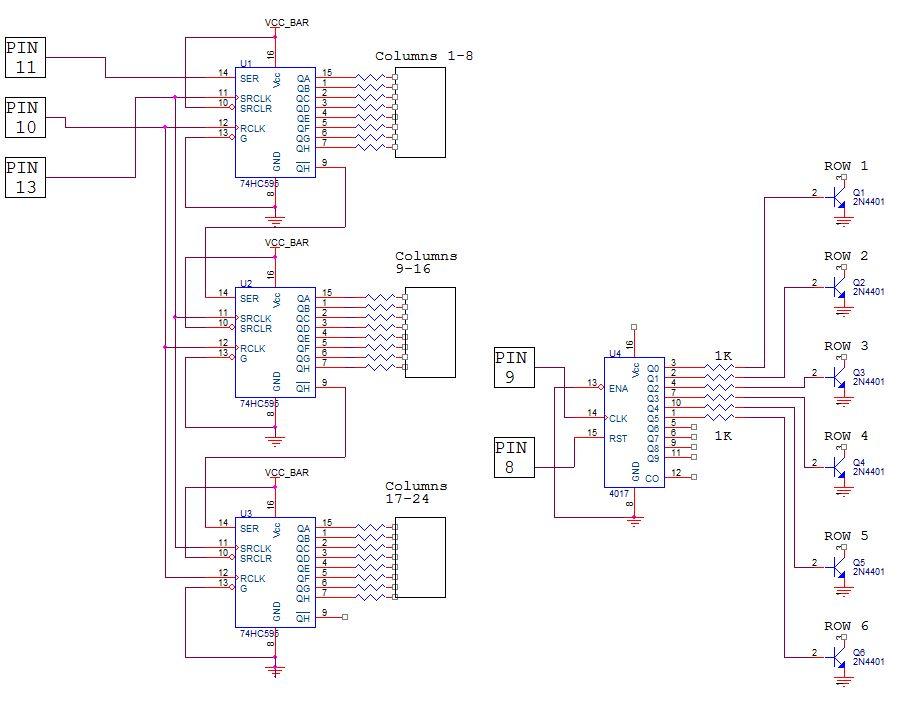 Schematic Arduino 24X6 LED matrix