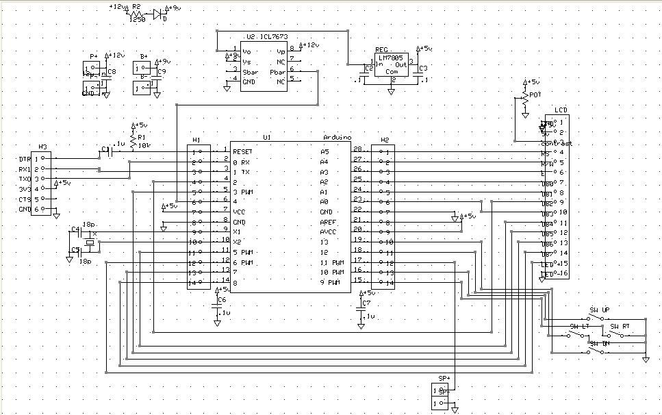 Schematic Arduino Alarm Clock with Tetris