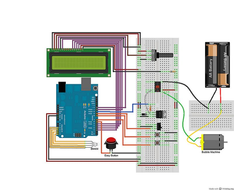 Schematic Arduino Bubble Alarm Clock