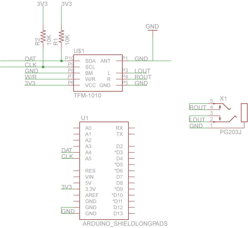 Schematic Arduino FM radio receiver shield