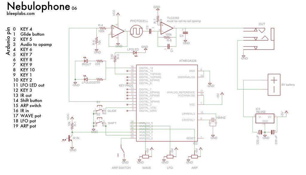 Schematic Arduino Nebulophone Synth