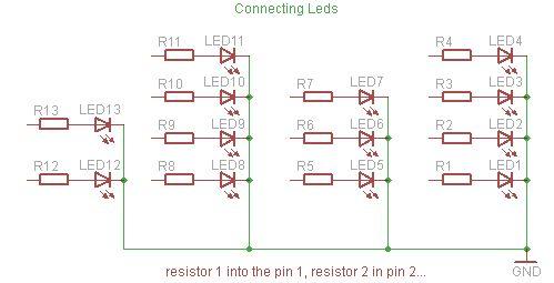 Schematic Arduino Powered Binary Clock