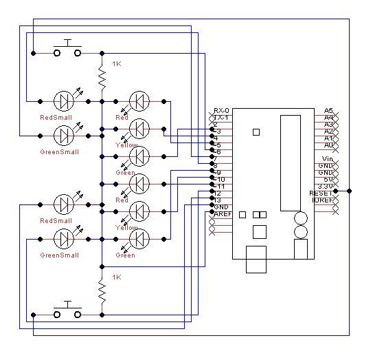 Schematic Arduino Traffic Lights