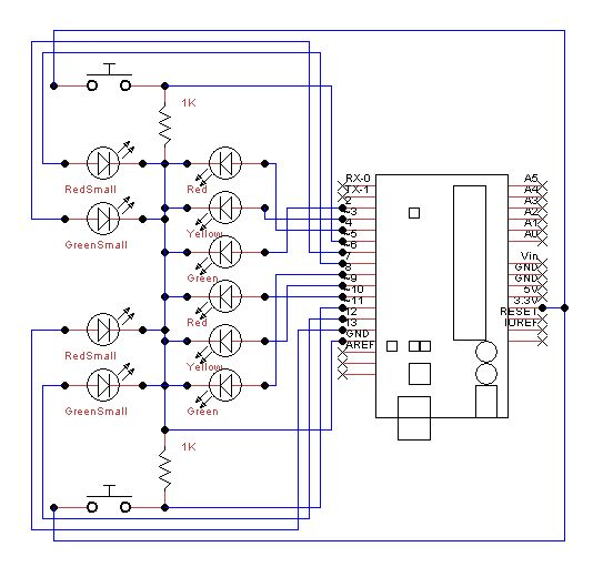 traffic lights beginner arduino project -use arduino for ... arduino traffic light wiring diagram
