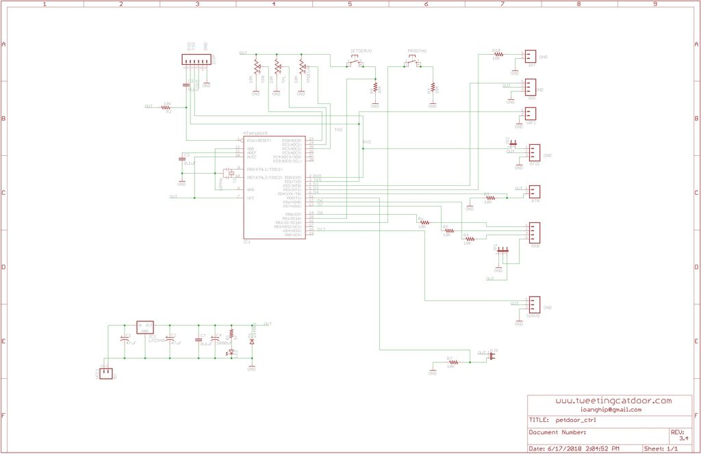 Schematic Arduino Tweeting Cat Door