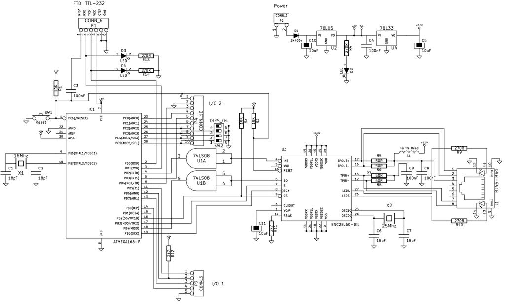Schematic Ethernet Arduino compatable controller board