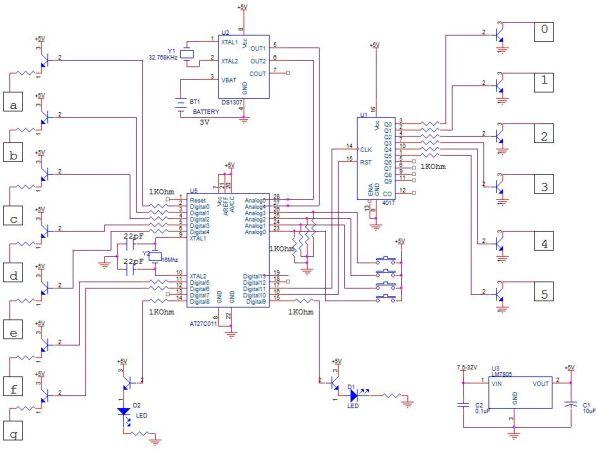 schematic Make A Digital Clock From Scratch using arduino