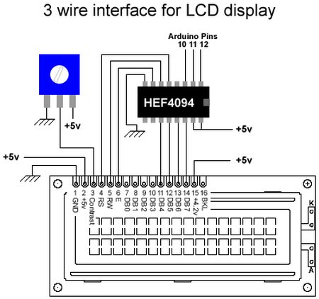 3 wires interface for LCD display using Arduino schematic