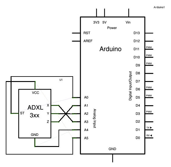 ADXL3xx Accelerometer using an Arduino schematic