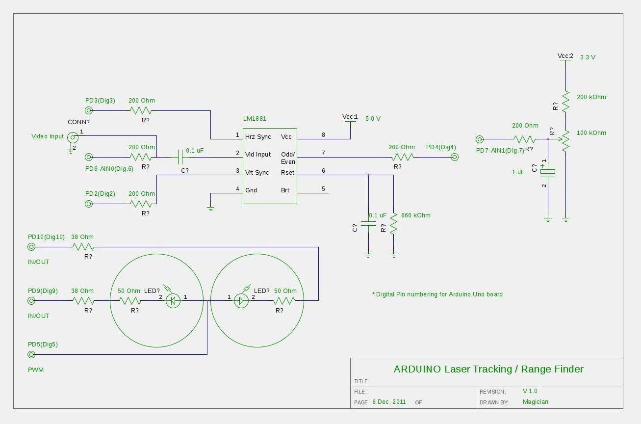 ARDUINO Laser 3D Tracking schematic