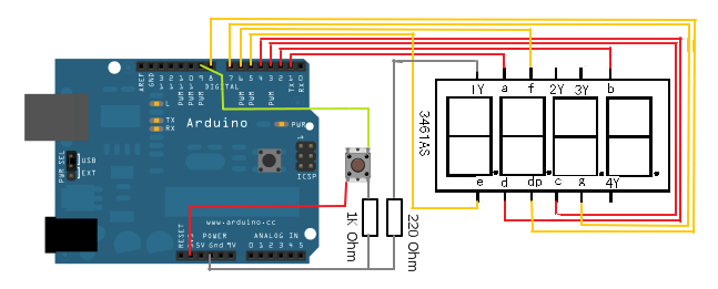Arduino 7-Segment LED Display Schematic
