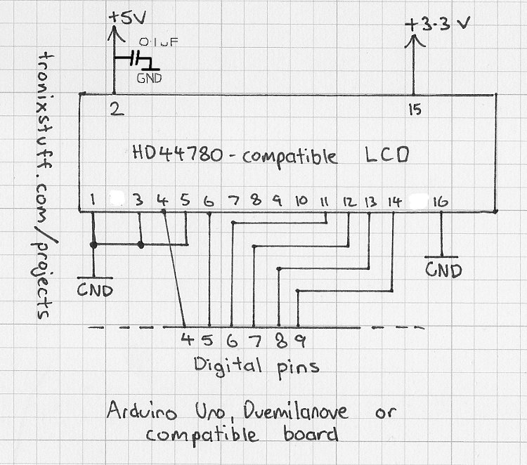 Arduino Backlit LCD shield Schematic