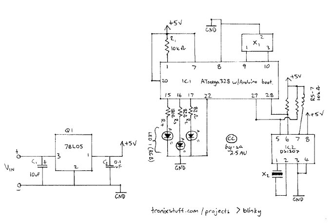 Arduino Blinky the one-eyed clock schematic