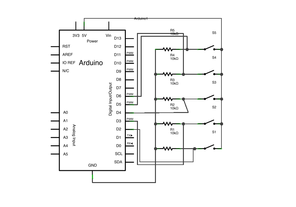 Arduino Button Mouse Control schematic