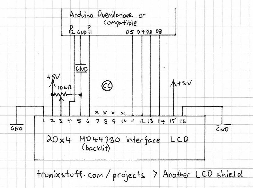 Arduino LCD shield Schematic