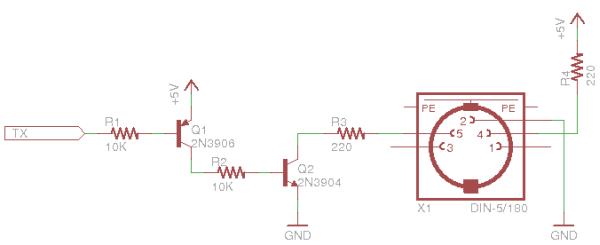 Arduino MIDI Volume Pedal schematic