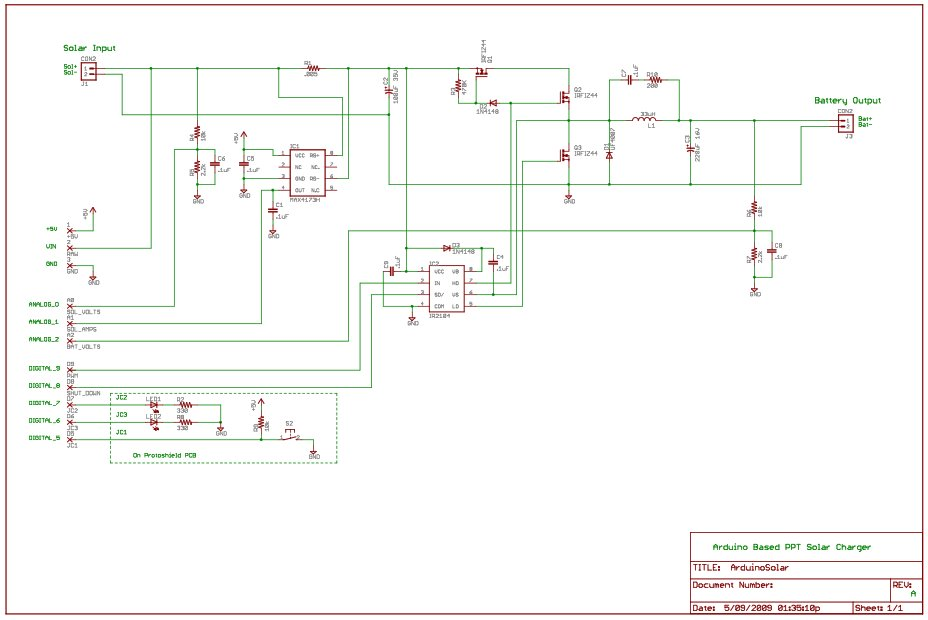 Arduino Peak Power Tracker Solar Charger Schematic