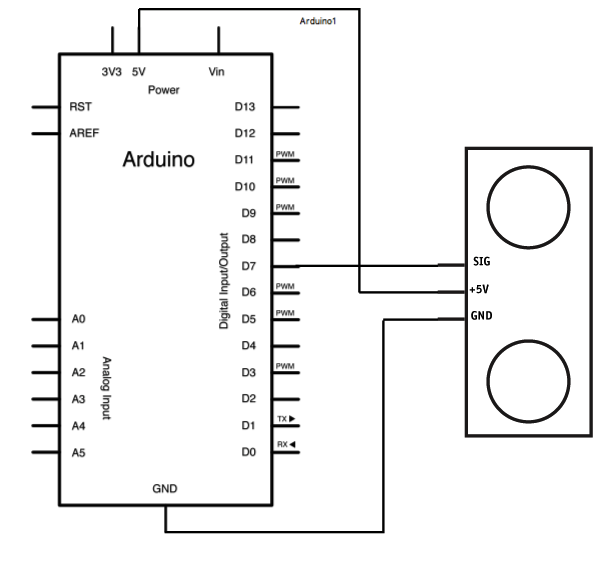Arduino Ping Ultrasonic Range Finder schematic