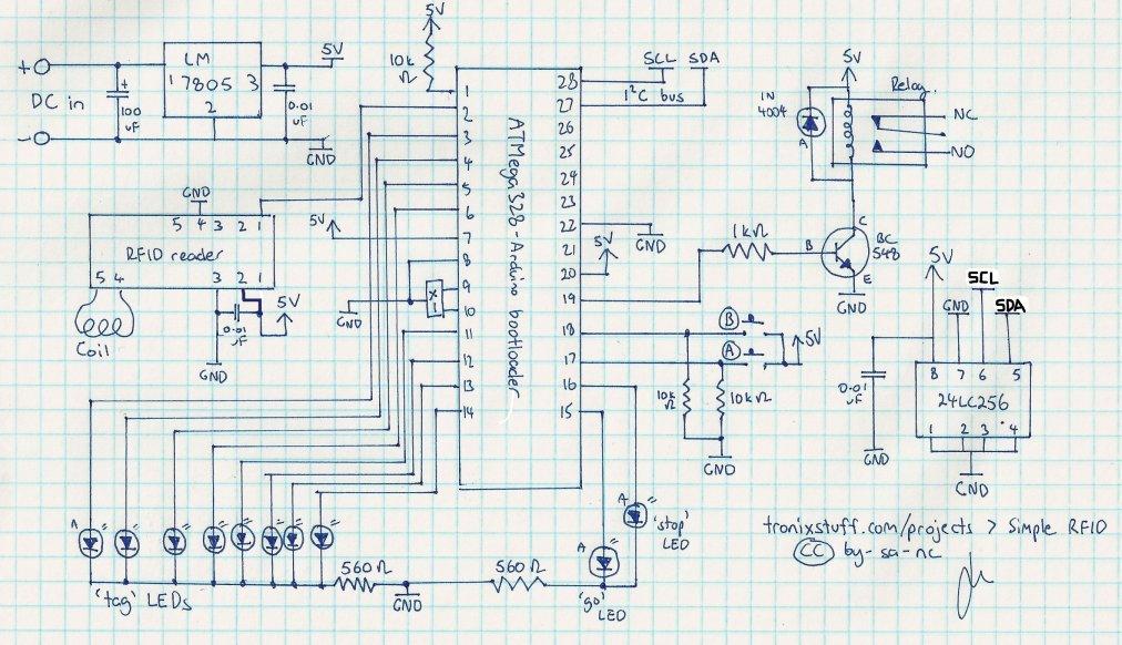 Arduino RFID access system Schematic