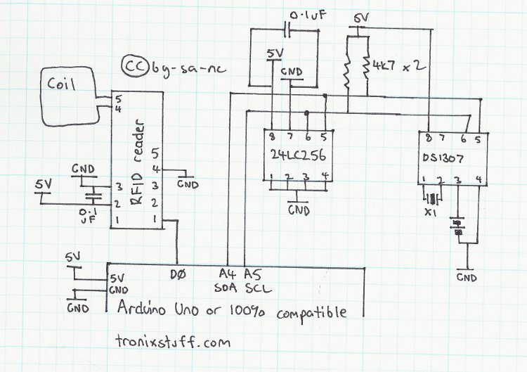 Arduino RFID time-clock system Schematic